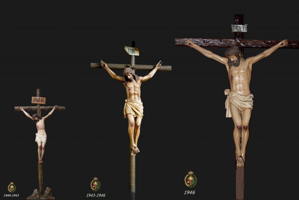 Los tres crucificados titulares de nuestra hermandad: (1940-1943, 1944-1945, 1946 hasta la actualidad).